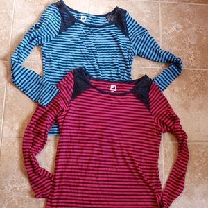JCP (2) Lace Shoulder Long Sleeve Stripe Tops Sz.M